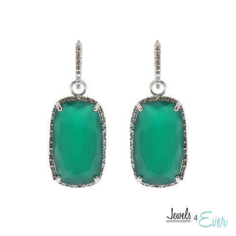 Sterling Silver genuine Green Onyx and Diamond Earrings