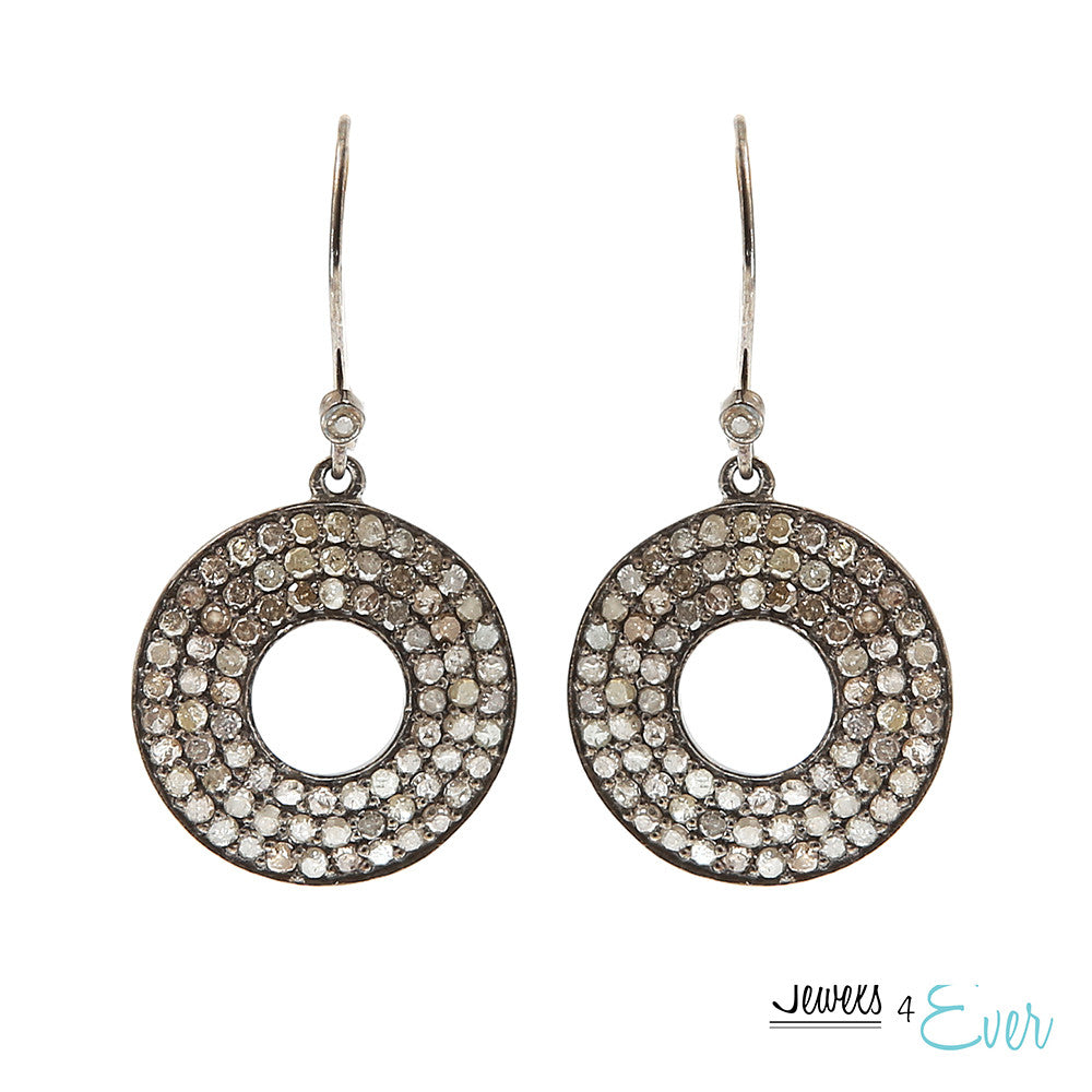Sterling Silver & Black Rhodium Diamond Earrings