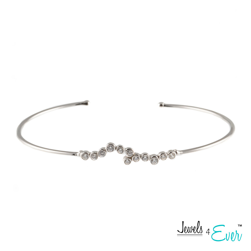 Jewels 4 Ever's Sparkling CZ Rhodium Plated 925 Sterling Silver Bangle