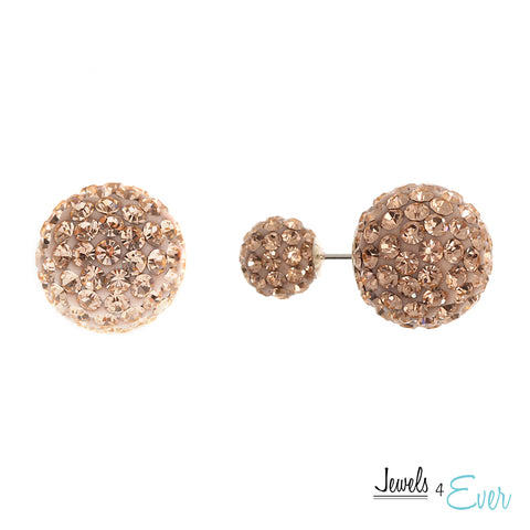 Sterling Silver Preciosa Crystal Double Ball Earrings