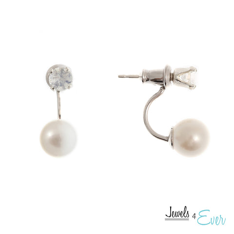 Sterling Silver 6.5mm genuine Cultured Freshwater Pearl & 4mm Moonstone Double Stud Earrings