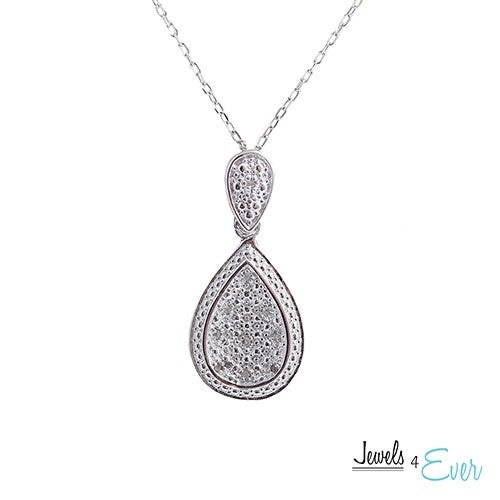 Sterling Silver Diamond Concave Teardrop Pendant