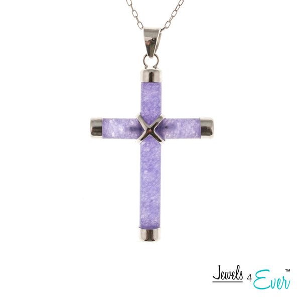 "Sterling Silver Genuine Cross Pendant with 16"" Rhodium Plated Chain"