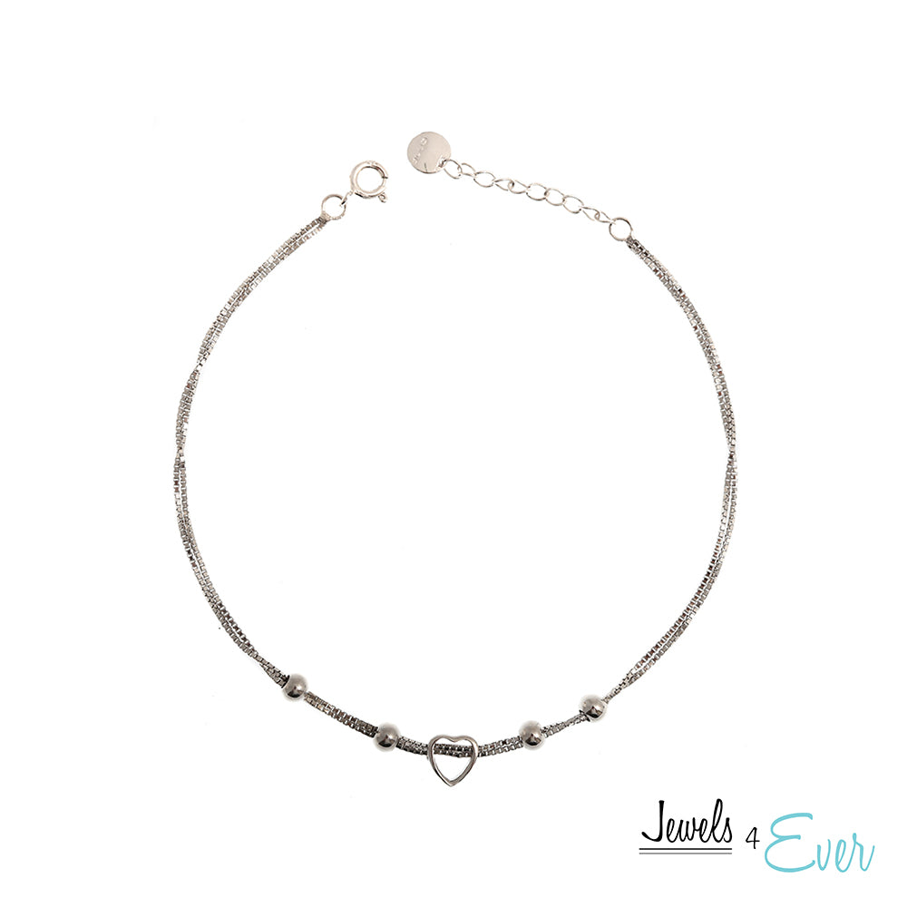 Sterling Silver Sliding Heart Bracelet