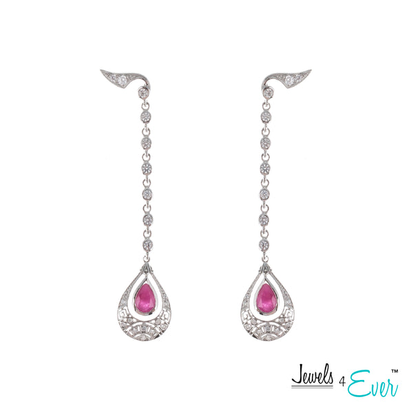 Sterling Silver Art-Deco style Drop Earrings set with 6x4mm Genuine Gemstone & CZ