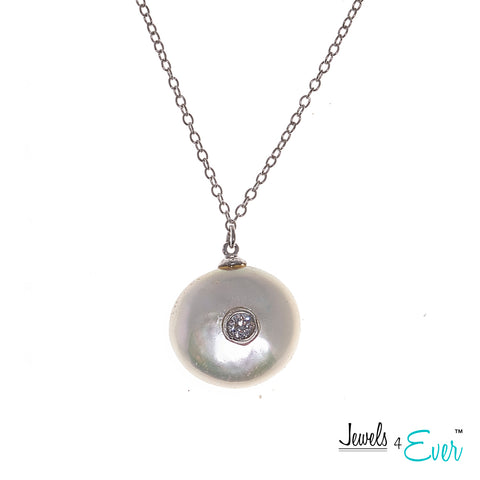 Jewels 4 Ever's CZ Genuine Freshwater Pearls  Rhodium Plated 925 Sterling Silver Chain and Pendant Set