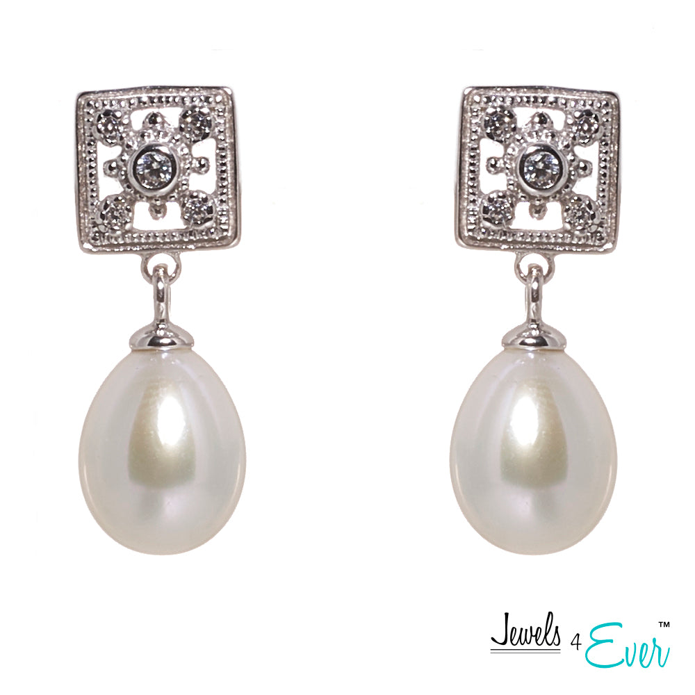 Jewels 4 Ever's CZ Genuine Freshwater Pearls  925 Sterling Silver Earrings