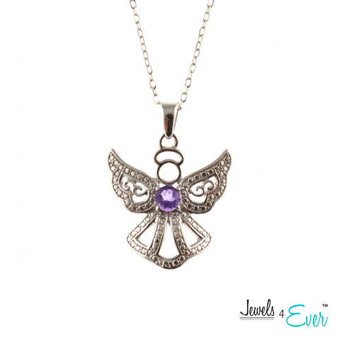 Jewels 4 Ever's Genuine Sterling Silver and Genuine Gemstone Angel Pendant and Chain Set