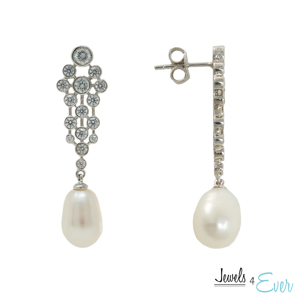 Sterling Silver Earrings and Pendant with Freshwater Pearl and Cubic Zirconia