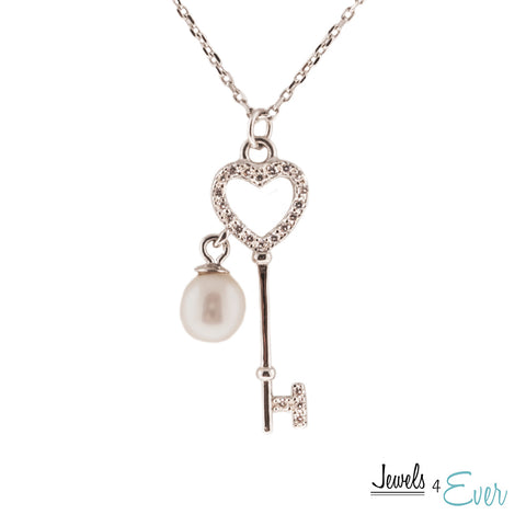 Sterling Silver Key Pendant Necklace with Cultured Pearl