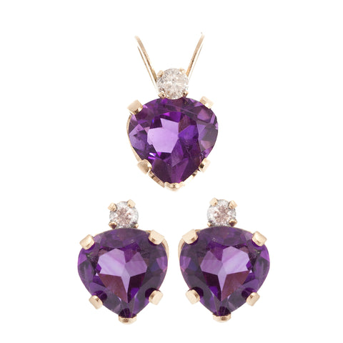 10K Yellow Gold genuine Amethyst Heart shaped Pendant and Earrings Set