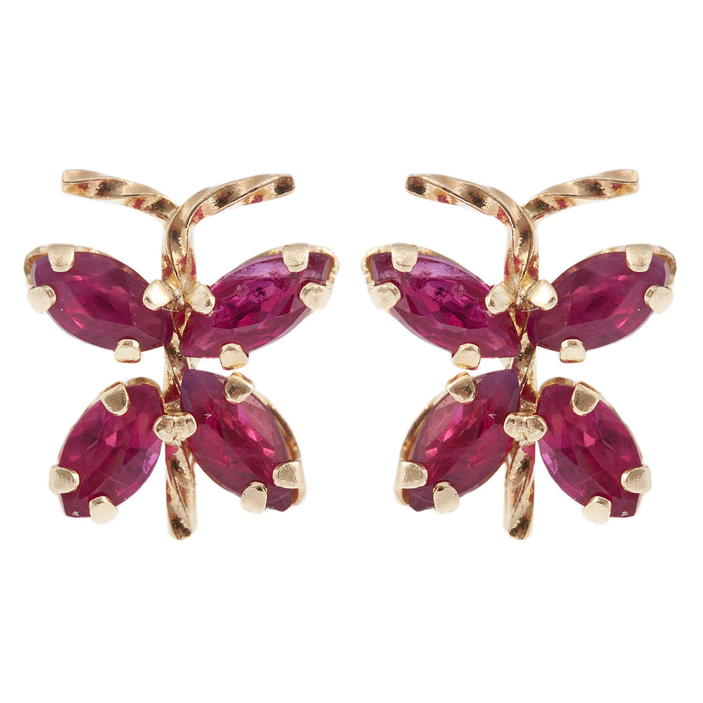 14K Yellow Gold genuine Ruby Butterfly Earrings