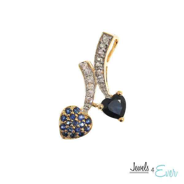 10K Gold Pendant Set with Beautiful Combinations of Genuine gemstones and Accented with White Sapphires