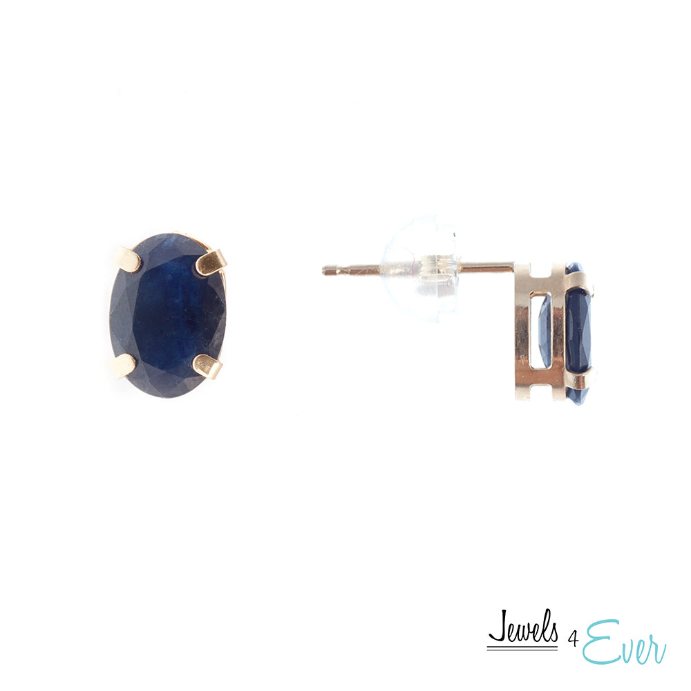 14K Yellow Gold 7x5mm genuine Sapphire stud Earrings