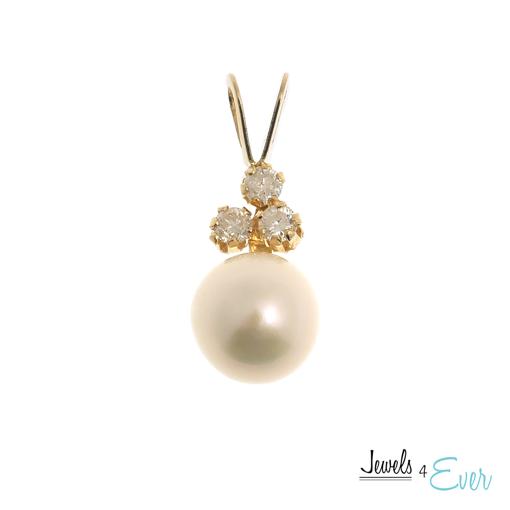 14K Yellow Gold Freshwater Pearl and Diamond Pendant