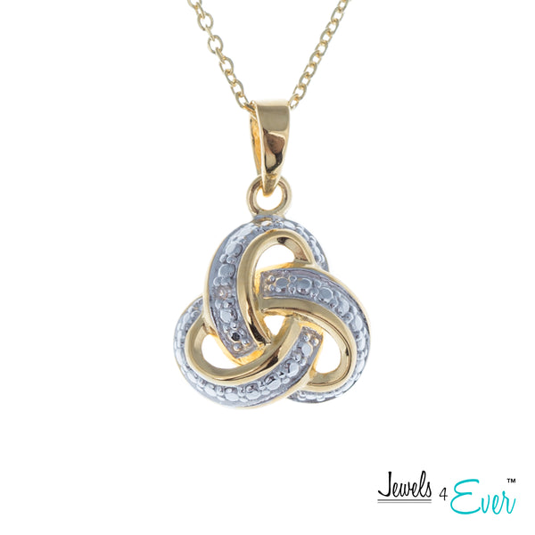 Sterling Silver Diamond Love Knot Earrings and Necklace