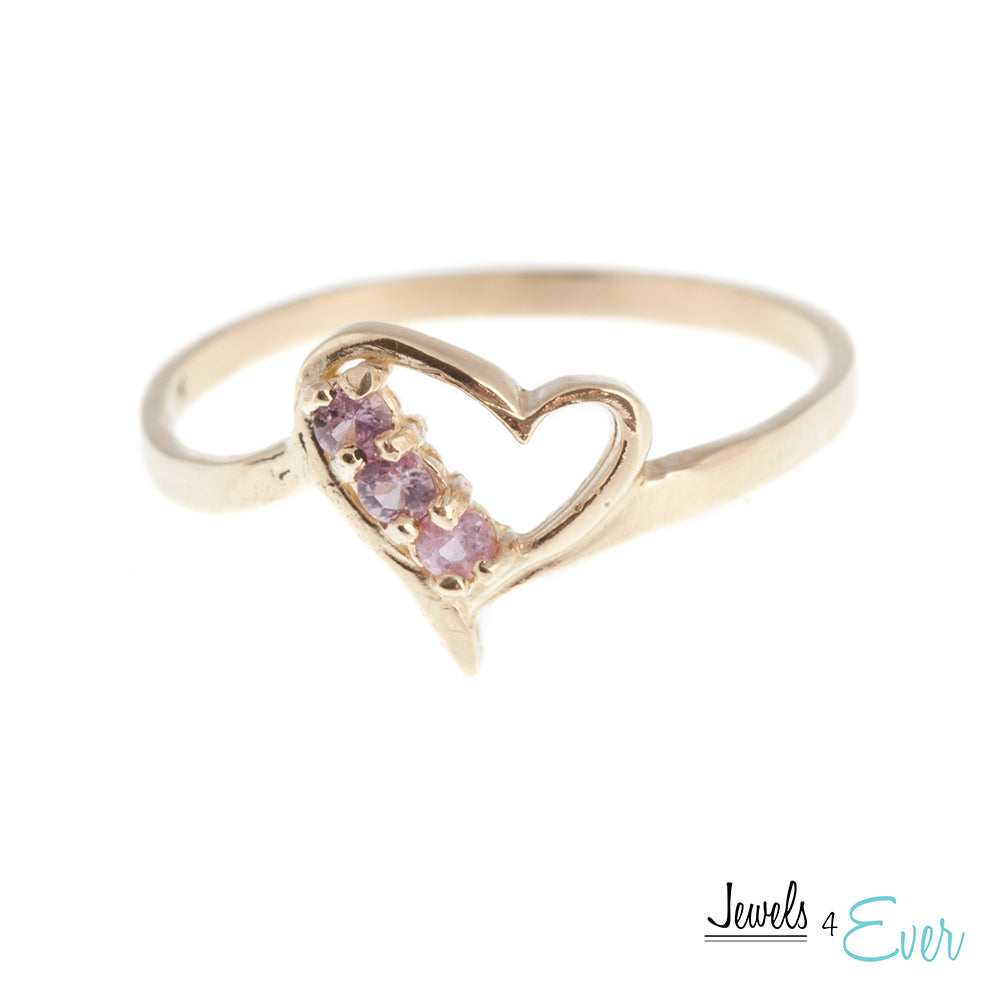 10K Yellow Gold genuine 2 mm Pink Sapphire heart Ring