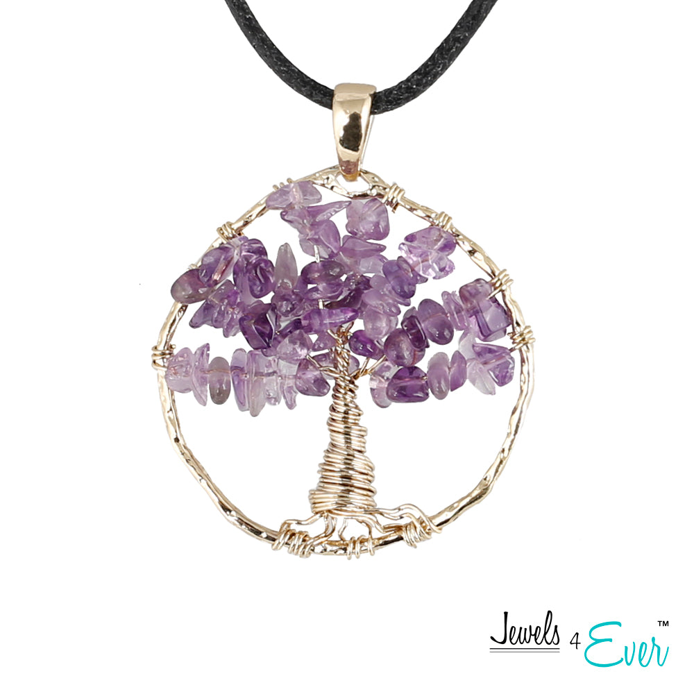 Brass genuine Amethyst Tree of Life Pendant with Cord