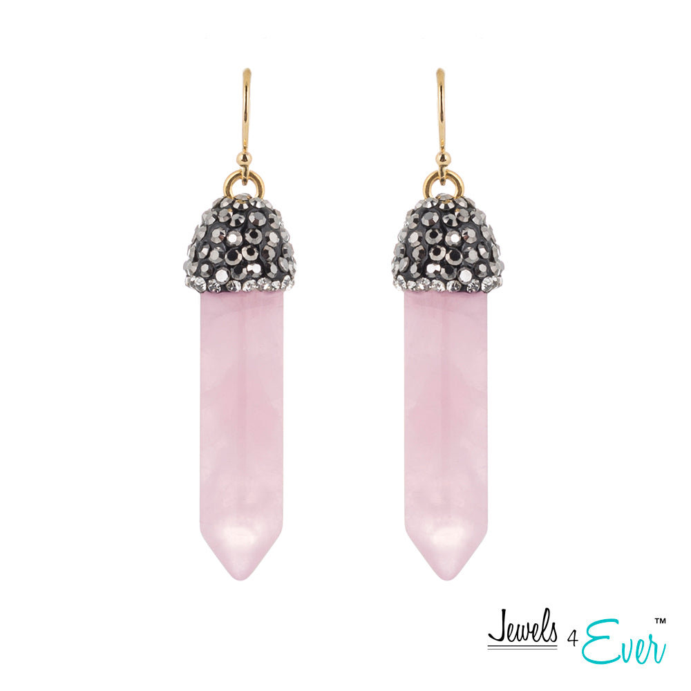 Brass genuine Rose Quartz Point and Crystal Cap Earrings
