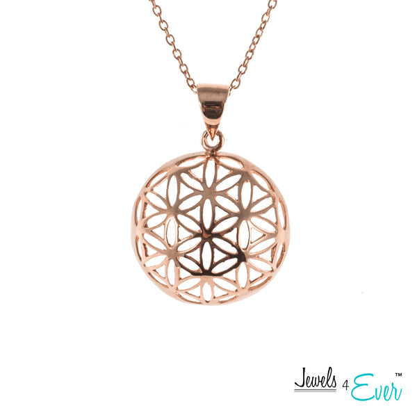 Sterling Silver Geometric Flower of Life Pendant and Chain