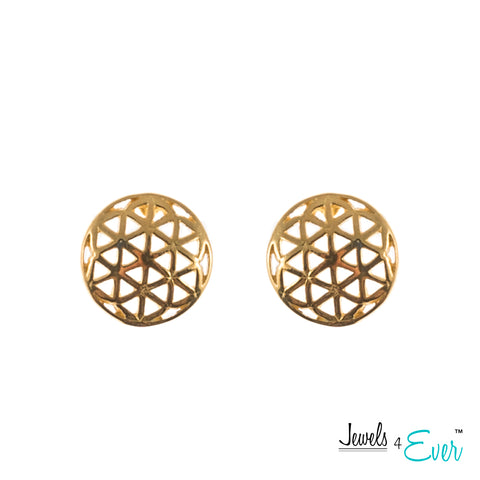 Sterling Silver Yellow Gold plated Geometric Flower of Life Stud Earrings