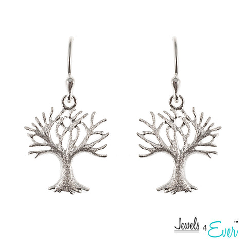 Sterling Silver Frosted Tree of Life Hanging Earrings