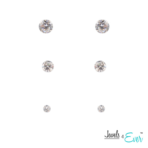 Trio of Sterling Silver 6mm Genuine Preciosa Crystal Stud Earrings