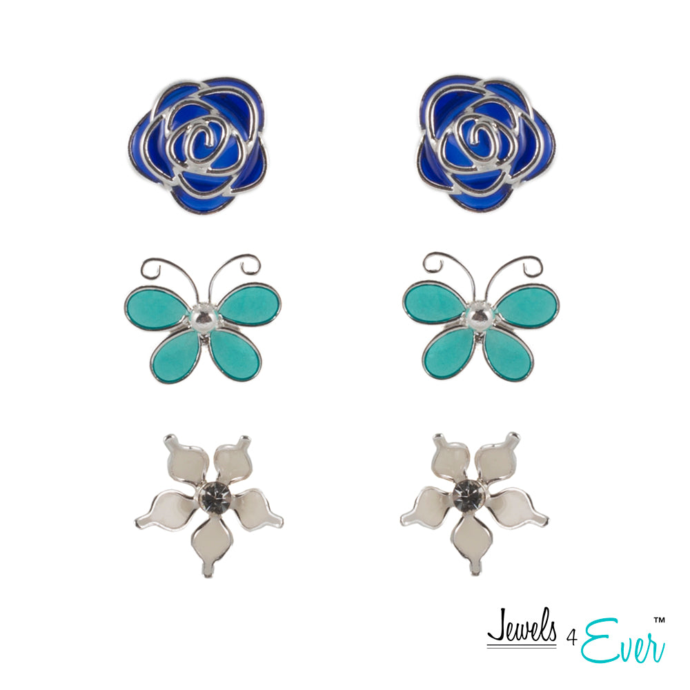 Spring Time Trio of Sterling Silver Enamel Stud Earrings, Navy Rose, Turquoise Butterfly & White Lily