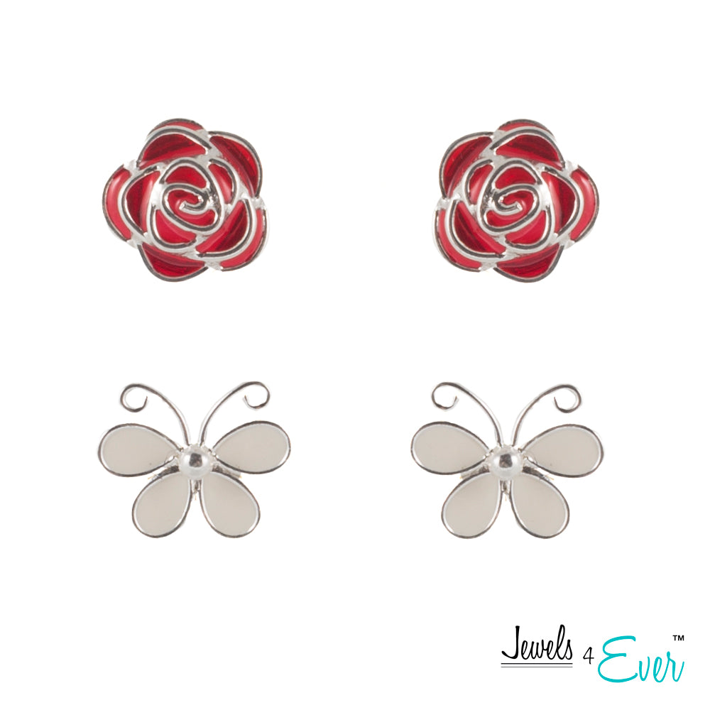 Classic Duo Sterling Silver Enamel Stud Earrings, Butterfly and Rose