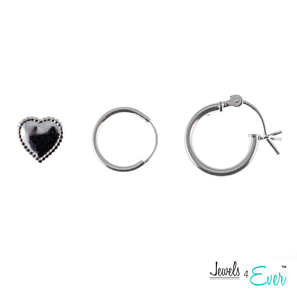 Duo of Sterling Silver Hoop Earrings and One Pair of heart shaped Studs
