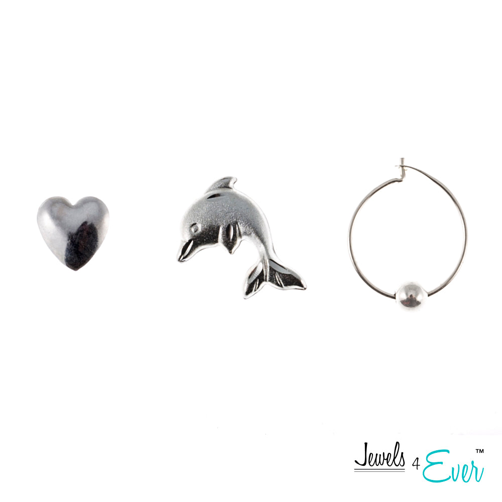 One Pair of Sterling Silver Ball Hoop Earrings and Two Pairs of Studs (Heart shaped, Dolphin)