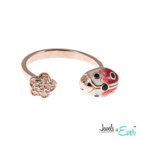 Sterling Silver Enamel Ladybug and CZ Adjustable Ring