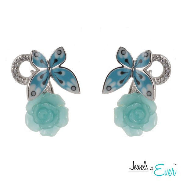 Sterling Silver Enamel  Butterfly, Glass Flower and CZ Earrings