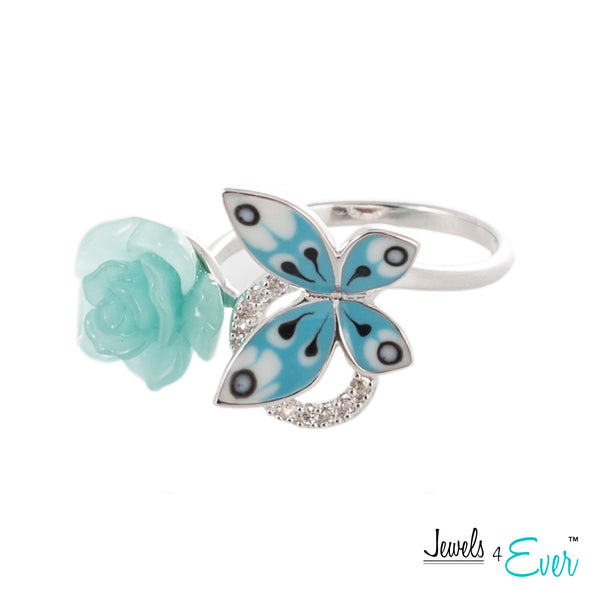 Sterling Silver Enamel  Butterfly, Glass Flower and CZ Ring