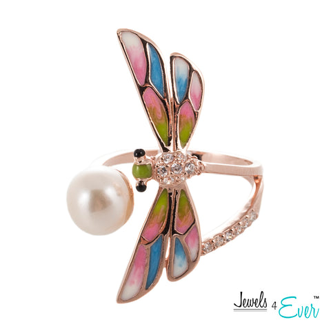 Sterling Silver Enamel Dragonfly and Freshwater Pearl Adjustable Ring