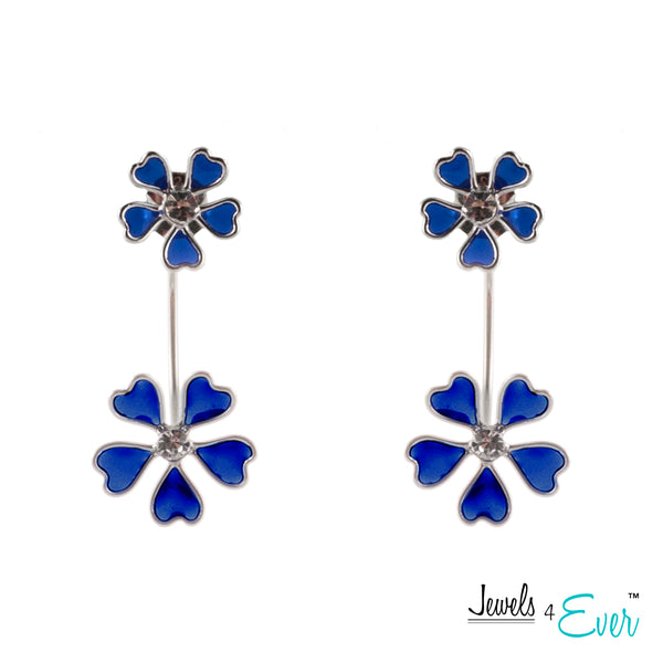 Sterling Silver Daisy Enamel and CZ Double Drop Earrings