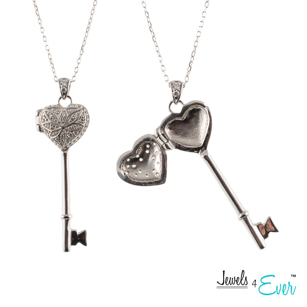 Sterling Silver CZ Key to My Heart and Forever Love Locket Pendant with Chain
