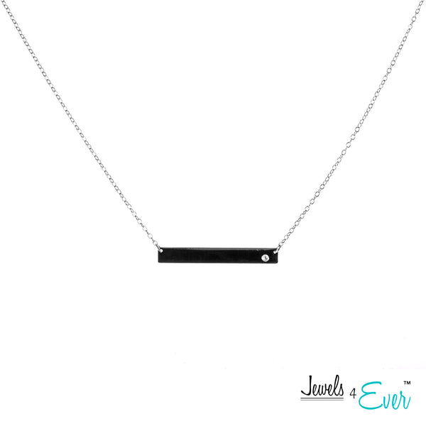 Sterling Silver Black Rhodium and Gold plated CZ Bar Necklace and Earrings