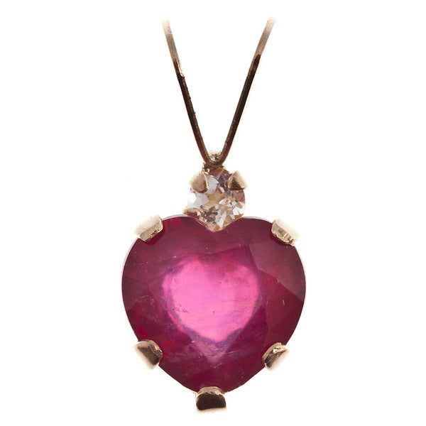 10 Karat Yellow Gold Heart Pendant with Genuine Gemstones