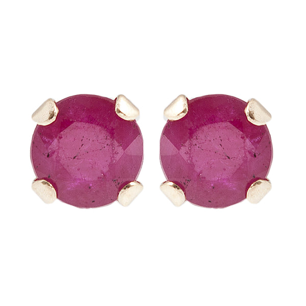 10K Yellow Gold 3 mm genuine Ruby stud Earrings
