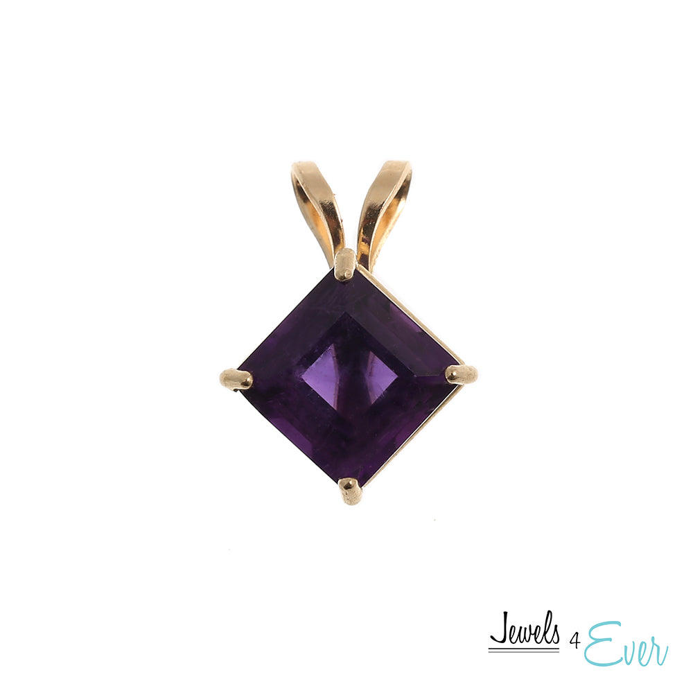 10kt Yellow Gold 6x6mm genuine Amethyst Pendant