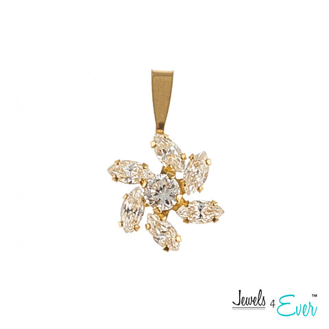 Jewels 4 Ever's Sparkling CZ  Starburst 10K Gold Pendant