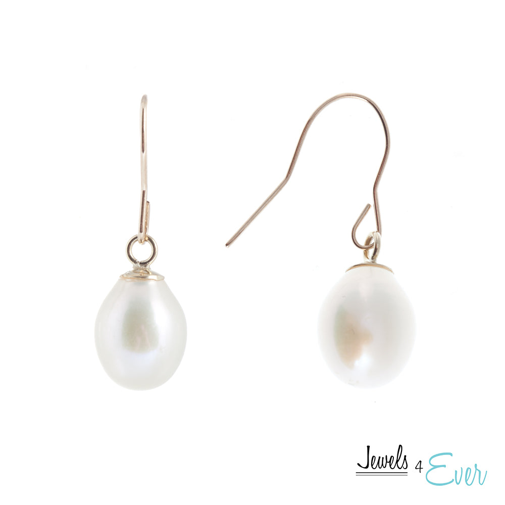 14K Gold White Freshwater Pearl Earrings