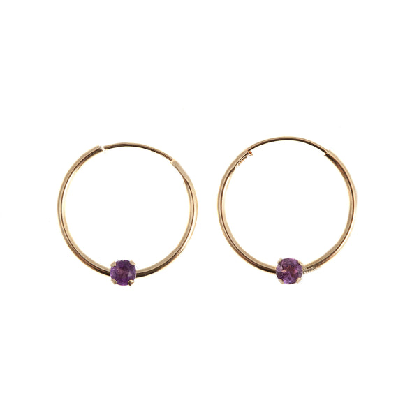 14K Gold Amethyst/Aquamarine Hoop Earrings