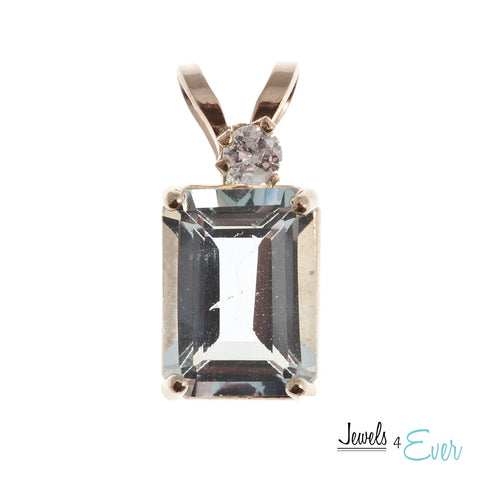 10K Gold Aquamarine and Diamond Pendant