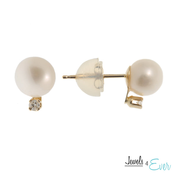 14K Yellow Gold Cultured Pearl and Genuine Gemstone/Diamond Earrings