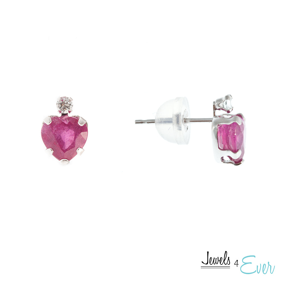 10K White / Yellow Gold Genuine Ruby and Aquamarine Heart-shaped stud Earrings