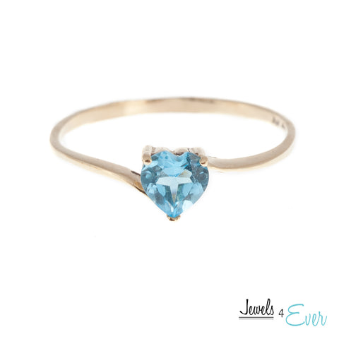 10K White / Yellow Gold Ring Set With Genuine Heart-Shaped Gemstone