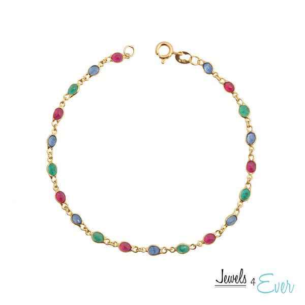 18kt Yellow Gold Ruby Sapphire and Emerald Bracelet