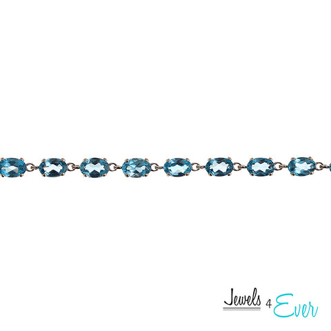 10K White Gold 6 x 4mm Gemstone Bracelet